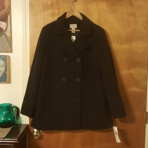 NWT L.L. Bean Lambswool Pea Coat W/ Thinsulate